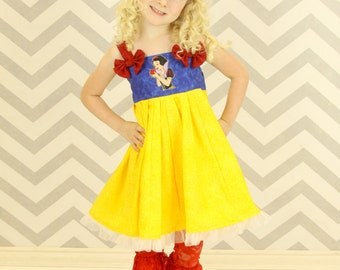 custom boutique twirl dress made with disney princess snow white patch 2-6
