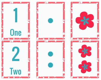 Number Recognition Flashcards Flowers