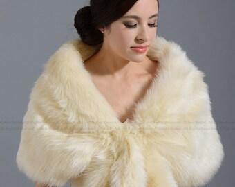 Champagne faux fur wrap bridal wrap faux fur shrug faux fur stole faux fur shawl faux fur cape A001