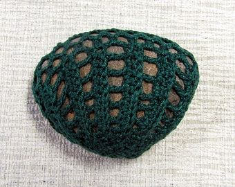 Forest Green Seashell Sea Stone Paperweight crocheted lace fiber art