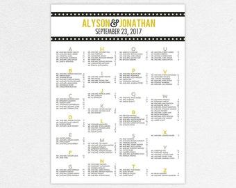 Wedding Seating Chart (Big Love) - Digital File, DIY, pdf, Printable, Marquee, Typography, Modern, Stripes, Polka Dots, Typography, Yellow