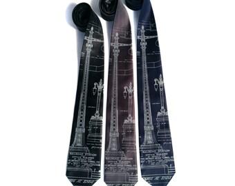 Detroit Train Station Ironwork Detail Necktie. Michigan Central Station tie. Men's printed tie. Silkscreened blueprint, pale gray print.