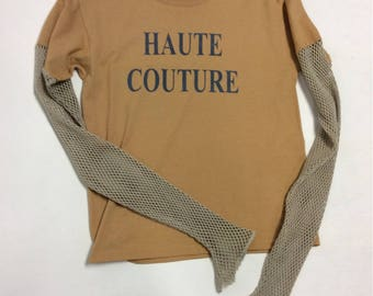 Handmade Handprinted HAUTE COUTURE Parchment  cotton Tee  Cotton net sleeves Xl