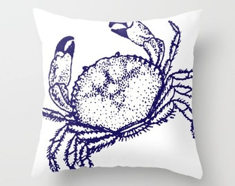 Crab Pillow with insert - Crab Throw Pillow with insert - Nautical Pillow with insert - Nautical Decor - Summer Decor -