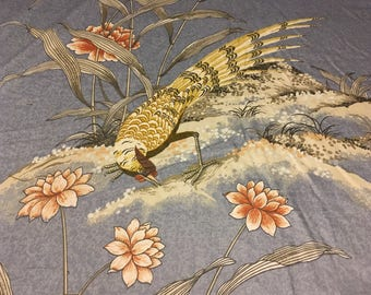 Vintage-  5th Ave  Giant pheasant and lotus  on medium weight cotton