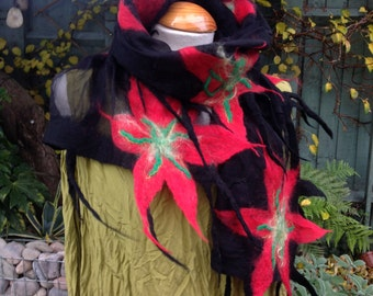 Black Nuno felted Silk chiffon scarf. Lattice with red poinsettia flowers. Art to wear  ...Made to order