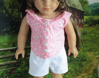 White shorts and pink top, Simplicity Pattern 1086, Keepers Dolly Duds