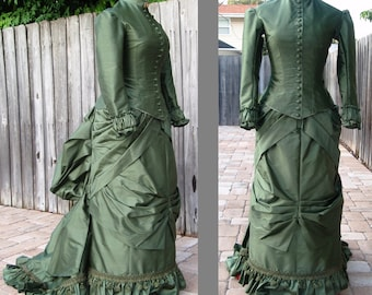 CUSTOM 1870s, Victorian Natural Form Era Dress. 100% Silk. No bustle style. With Train.