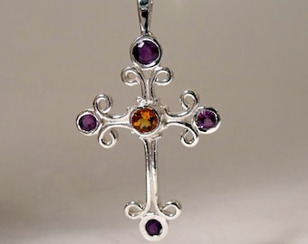 Cross in Sterling Silver with Amethyst and Citrine RF598
