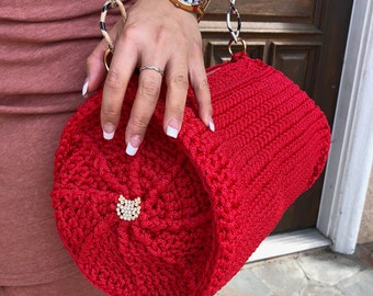 Crocheted Bowler Bag in Red