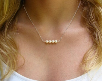 Adult Freshwater Pearl Bar Necklace - Silver Stationary Pearl Necklace - Necklace with One Two Three Four or Five Pearls - Bridesmaid Gift