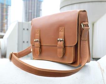 14 Inch Leather Briefcase Men Vintage Laptop Bag Leather Messenger Bag Handmade Shoulder Bag