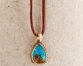 Peyote stitched Turquoise stone on leather