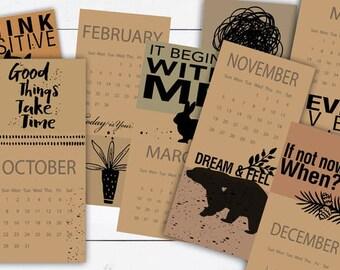 Digital Printable file, 2018 Calendar, Think Positive Quotes, 2018 Illustrated Calendar, Original Designed Calendar, 12 Monthly Pages