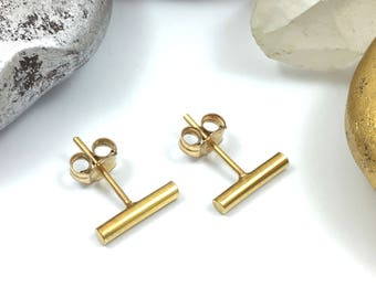 Gold Bar Studs, Tiny Stud Earrings, 24k Gold Bar Earrings, Gold Bar Earrings, 24k Gold Earrings, Bar Stud Earrings, Minimalist Earrings