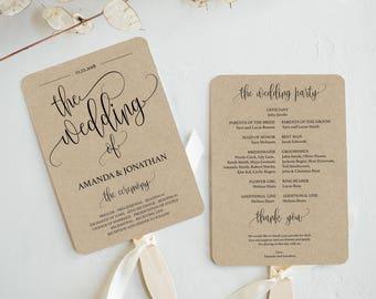 Wedding Program Printable - Printable Wedding Program - Wedding Rustic - Ceremony Printable template  - Downloadable wedding #WDH301_12