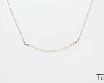 Minimal Necklace, Gold Pearl Necklace, Elegant Jewelry, Bride's Necklace, Bridal Style, Bridesmaid Gift, Love Gift, White Stone Necklace