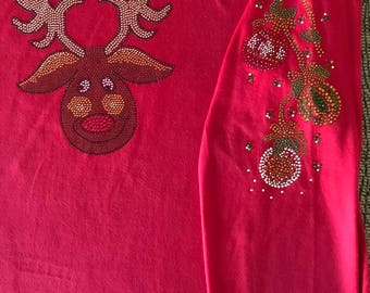 Rhinestone  Rudolph Christmas w/ Ornaments 3/4 Sleeve V Neck Fitted Tee Large