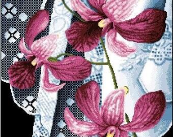 Orchids and Calado Laces Still Life -Cross Stitch PDF Pattern