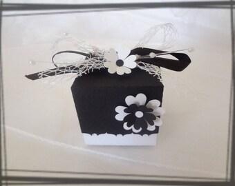 Black and white wedding flower favors box