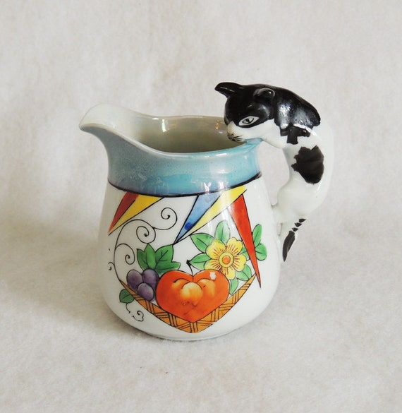 Vintage 1920s-30s Hand Painted Luster Pitcher With Cat / Kitten Handle MADE IN JAPAN