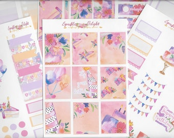 Make a WIsh Birthday Collection for Erin Condren Life Planner Happy Planner Kikki K Filofax Plum Paper Stickers