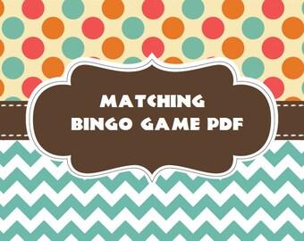 Matching Bingo Game card ~ Printable PDF File Download