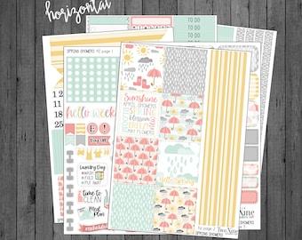 HORIZONTAL Spring Showers Weekly Kit, Spring Planner Stickers, Horizontal Sticker Kits