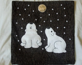"Polar Bear pillow, cushion cover ""Polar Bears in Snow"", appliqued, handmade, animal"