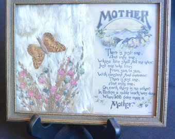Framed Mother Poem with Butterfly and Dried Flowers; REINTHAL & NEWMAN, No.862