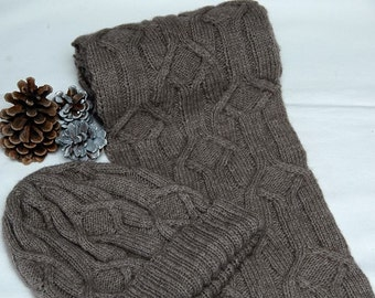 """Hand knit Scarf& Hat Set/Combi for men/women in supersoft Qiviut-Alpaca-Merino-blend with cable pattern """"Forrest Island"""" - MADE TO ORDER"""