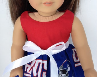 18 inch Doll Dress using  NY Giants fabric,  made to fit 18 inch dolls such as American Girl and similar 18 inch dolls