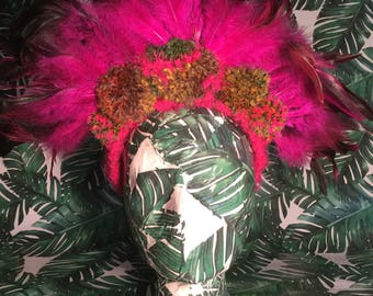 Fushia Pink Feather & Pom Pom Headdress