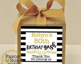 BIRTHDAY PARTY BASH, 12 Favor Boxes, Personalized Labels, Milestone Birthday Party, Over The Hill, 40TH Birthday, 50Th Birthday, Favor Box