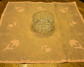 Rose Pink Organdy Madeira Vintage Small Tablecloth with Napkins with Applique Flowers