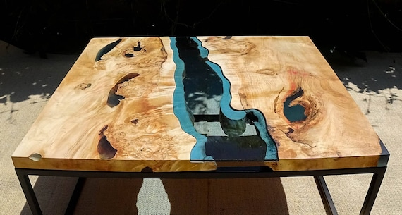 sold live edge river coffee table with dark blue epoxy inlay. Black Bedroom Furniture Sets. Home Design Ideas