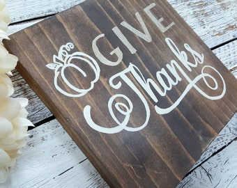 Give thanks sign, fall decor, rustic fall, rustic fall decor, give thanks farmhouse sign, farmhouse fall sign, rustic fall decor, give thank