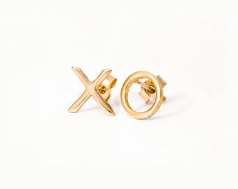 "Gold ""Hugs and Kisses"" Earrings, Gold XO Stud Earrings, Gold Stud Earrings, Yellow Gold Stud Earrings"