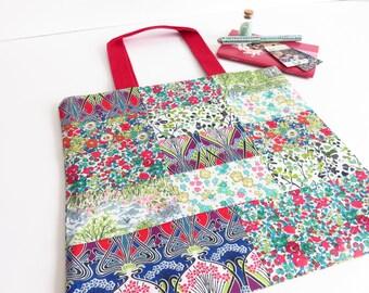 Liberty Lawn Mini Patchwork Sewing/Knitting/Crochet Storage Tote Bag