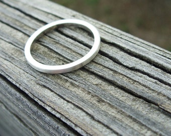 Modernist Silver Square Band Ring - Minimalist Matte Sterling