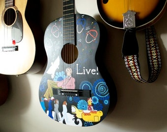 Hand painted guitar. Custom guitar art. Design your guitar (or other musical instrument).