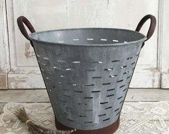 Large Antique French Zinc Olive Basket