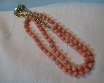 S 21g Vintage Red ROSE PINK Necklace Original Mediterranean CORAL