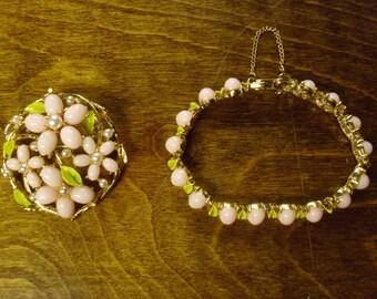 Vintage  1950's/1960's  Demi Parure  Brooch & Bracelet Set Signed ART