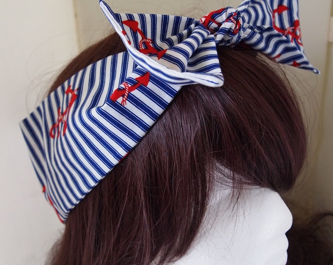 50s Vtg Red Anchor And Stripe Bow Head Scarf - Rockabilly Psychobilly Pin Up Girl Cute Steampunk Vintage Classic Nautical Sailor Sea Retro