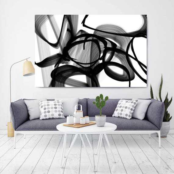 """Abstract Expressionism in Black And White 22. Abstract Black and White Painting Canvas Print up to 72"""" by Irena Orlov"""
