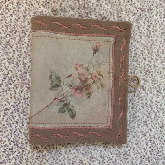 Embroidered Needlebook victorian vintage rose print fabric