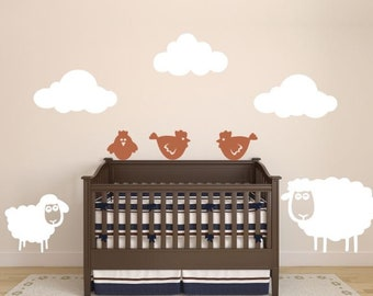 Nursery Wall Decor With Sheep, Clouds, And Chickens Vinyl Decals