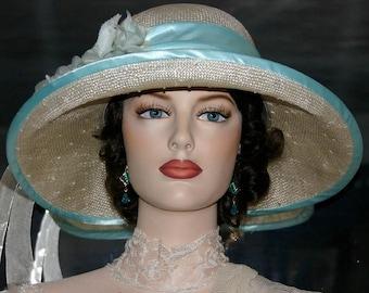 Kentucky Derby Hat Ascot Edwardian Tea Hat Church Hat Easter Hat Downton Abbey Hat Gatsby Hat Flapper Hat Women's Aqua Hat - Miss Emily