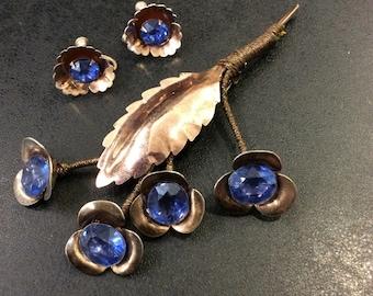Sterling silver Blue stone spray brooch with screw on earrings